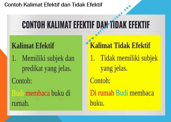 Contoh Kalimat Efektif dan Tidak Efektif